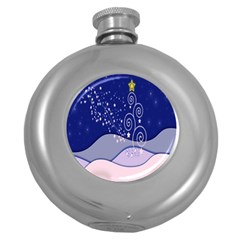 Christmas Tree Round Hip Flask (5 Oz) by Onesevenart