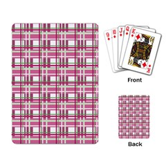 Pink Plaid Pattern Playing Card by Valentinaart