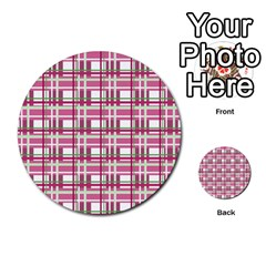 Pink Plaid Pattern Multi Purpose Cards (round)  by Valentinaart