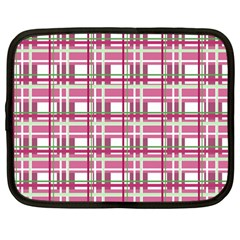 Pink Plaid Pattern Netbook Case (large) by Valentinaart