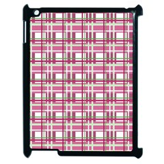 Pink Plaid Pattern Apple Ipad 2 Case (black) by Valentinaart