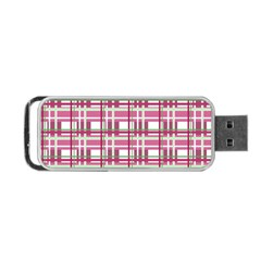Pink Plaid Pattern Portable Usb Flash (two Sides) by Valentinaart