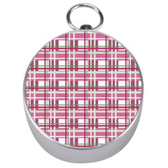 Pink Plaid Pattern Silver Compasses by Valentinaart