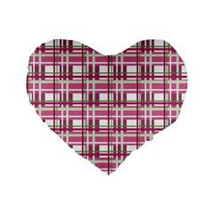 Pink Plaid Pattern Standard 16  Premium Flano Heart Shape Cushions by Valentinaart