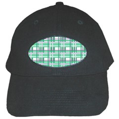 Green Plaid Pattern Black Cap by Valentinaart