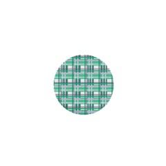 Green Plaid Pattern 1  Mini Buttons