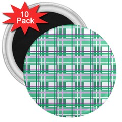 Green Plaid Pattern 3  Magnets (10 Pack)  by Valentinaart