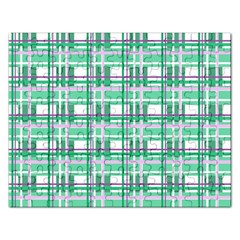 Green Plaid Pattern Rectangular Jigsaw Puzzl by Valentinaart