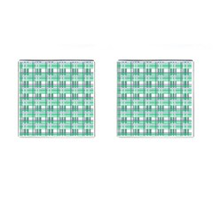 Green Plaid Pattern Cufflinks (square) by Valentinaart