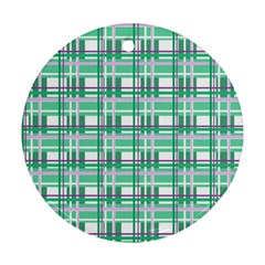 Green Plaid Pattern Round Ornament (two Sides)  by Valentinaart