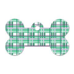 Green Plaid Pattern Dog Tag Bone (two Sides) by Valentinaart