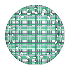 Green Plaid Pattern Ornament (round Filigree)  by Valentinaart