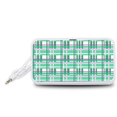 Green plaid pattern Portable Speaker (White)  by Valentinaart