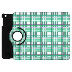 Green Plaid Pattern Apple Ipad Mini Flip 360 Case by Valentinaart