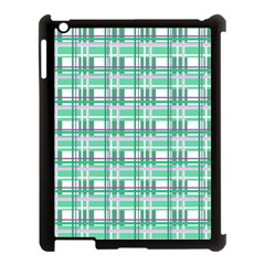 Green Plaid Pattern Apple Ipad 3/4 Case (black) by Valentinaart