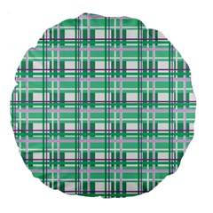 Green Plaid Pattern Large 18  Premium Flano Round Cushions by Valentinaart