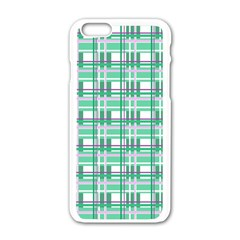 Green Plaid Pattern Apple Iphone 6/6s White Enamel Case by Valentinaart