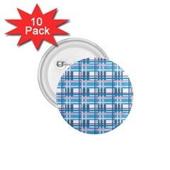 Blue Plaid Pattern 1 75  Buttons (10 Pack) by Valentinaart