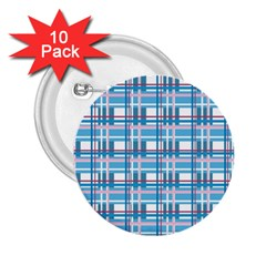 Blue Plaid Pattern 2 25  Buttons (10 Pack)  by Valentinaart
