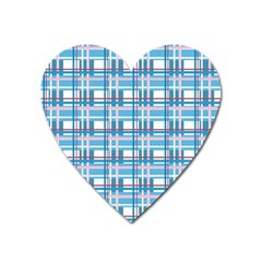 Blue Plaid Pattern Heart Magnet by Valentinaart