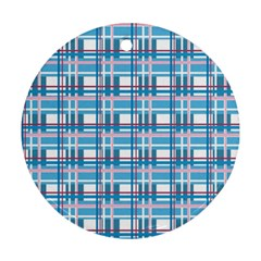 Blue Plaid Pattern Round Ornament (two Sides)  by Valentinaart