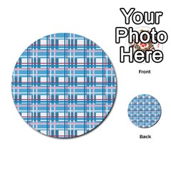 Blue Plaid Pattern Multi Purpose Cards (round)  by Valentinaart