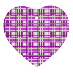 Purple Plaid Pattern Ornament (heart)  by Valentinaart