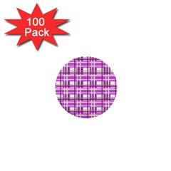 Purple Plaid Pattern 1  Mini Buttons (100 Pack)  by Valentinaart