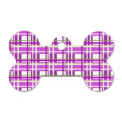 Purple Plaid Pattern Dog Tag Bone (one Side) by Valentinaart