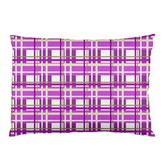 Purple Plaid Pattern Pillow Case by Valentinaart