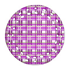 Purple Plaid Pattern Round Filigree Ornament (2side) by Valentinaart