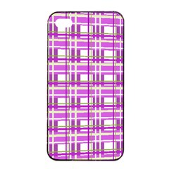 Purple Plaid Pattern Apple Iphone 4/4s Seamless Case (black) by Valentinaart