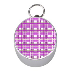 Purple Plaid Pattern Mini Silver Compasses by Valentinaart