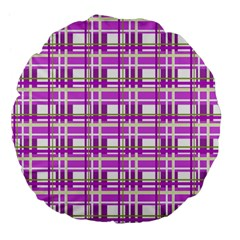 Purple Plaid Pattern Large 18  Premium Flano Round Cushions by Valentinaart
