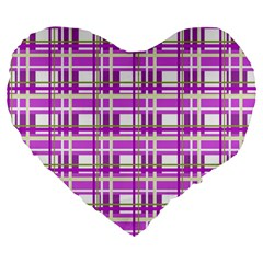Purple Plaid Pattern Large 19  Premium Flano Heart Shape Cushions by Valentinaart