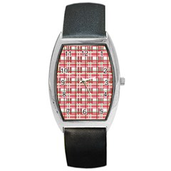 Red Plaid Pattern Barrel Style Metal Watch by Valentinaart