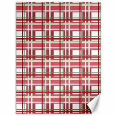 Red Plaid Pattern Canvas 36  X 48   by Valentinaart
