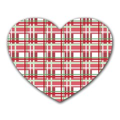 Red Plaid Pattern Heart Mousepads by Valentinaart
