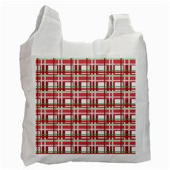 Red Plaid Pattern Recycle Bag (one Side) by Valentinaart
