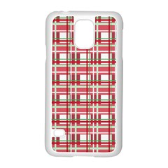 Red Plaid Pattern Samsung Galaxy S5 Case (white) by Valentinaart