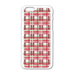 Red Plaid Pattern Apple Iphone 6/6s White Enamel Case by Valentinaart
