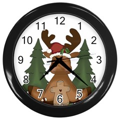 Christmas Moose Wall Clocks (black) by Onesevenart