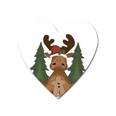 Christmas Moose Heart Magnet by Onesevenart
