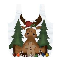 Christmas Moose Full Print Recycle Bags (l)  by Onesevenart