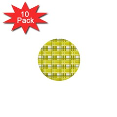 Yellow Plaid Pattern 1  Mini Buttons (10 Pack)  by Valentinaart