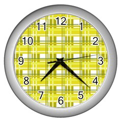 Yellow Plaid Pattern Wall Clocks (silver)  by Valentinaart