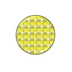 Yellow Plaid Pattern Hat Clip Ball Marker