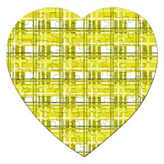 Yellow Plaid Pattern Jigsaw Puzzle (heart) by Valentinaart