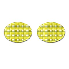 Yellow Plaid Pattern Cufflinks (oval) by Valentinaart