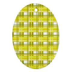 Yellow Plaid Pattern Oval Ornament (two Sides) by Valentinaart